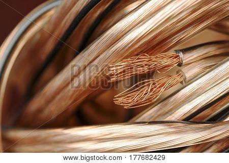 Speaker wire bundle is shown up close