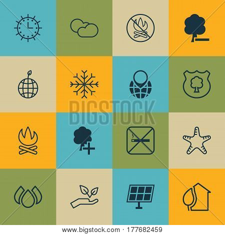 Set Of 16 Eco-Friendly Icons. Includes Save World, Pin Earth, Sun Power And Other Symbols. Beautiful Design Elements.
