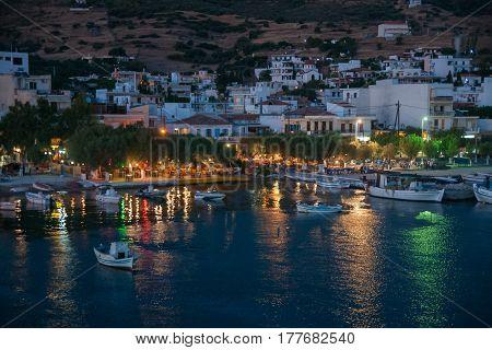 Marmary port at night on Evbia, Greece