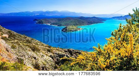 Beautiful Greece landscapes - view of small island Spinalonga. Crete
