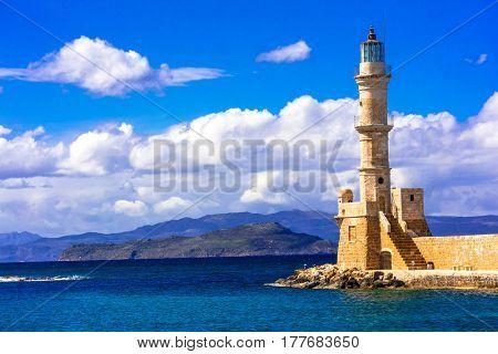 Beautiful lighthouse - landmark of Chania town, Crete, Greece