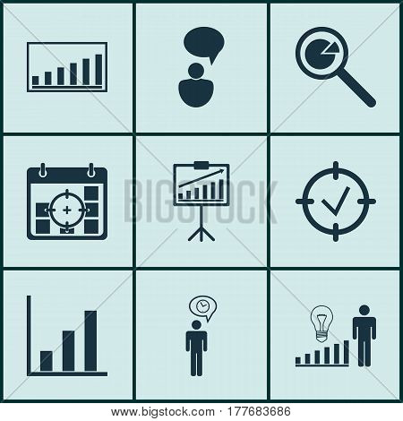 Set Of 9 Management Icons. Includes Company Statistics, Approved Target, Decision Making And Other Symbols. Beautiful Design Elements.