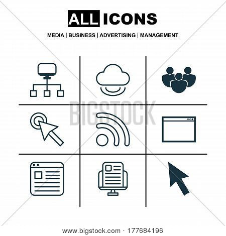 Set Of 9 Web Icons. Includes Local Connection, Team, Blog Page And Other Symbols. Beautiful Design Elements.