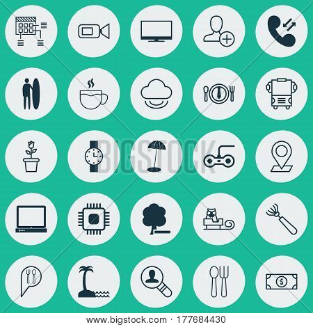 Set Of 25 Universal Editable Icons. Can Be Used For Web, Mobile And App Design. Includes Elements Such As Delete Woods, Video Camcorder, Tea And More.