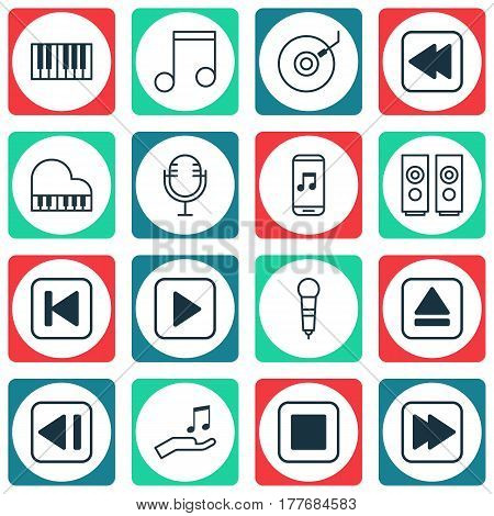 Set Of 16 Music Icons. Includes Gramophone, Mike, Run Song Back And Other Symbols. Beautiful Design Elements.