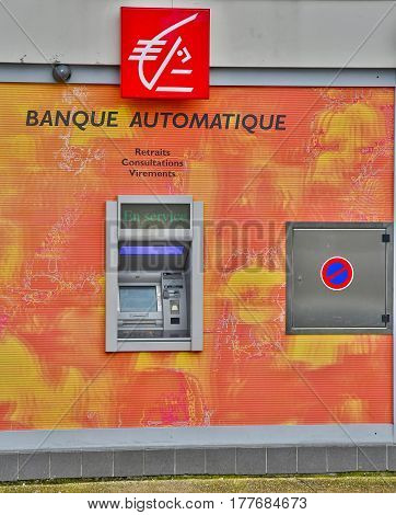 Le Mesnil Esnard France - june 22 2016 : cashpoint of the savings bank