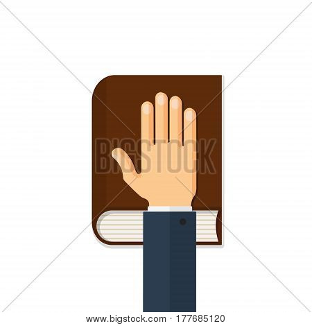 Human hand on the bible. Oath concept. Flat style vector illustration isolated on white background.