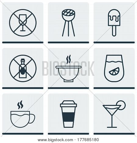 Set Of 9 Eating Icons. Includes Alcohol Forbid, Lolly, Cocktail And Other Symbols. Beautiful Design Elements.