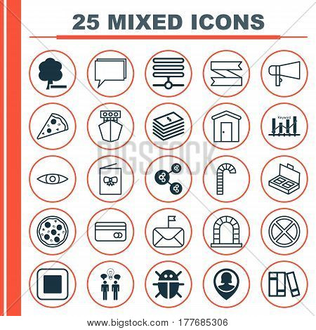 Set Of 25 Universal Editable Icons. Can Be Used For Web, Mobile And App Design. Includes Elements Such As Farmhouse, Keyword Optimisation, Dollar Banknote And More.