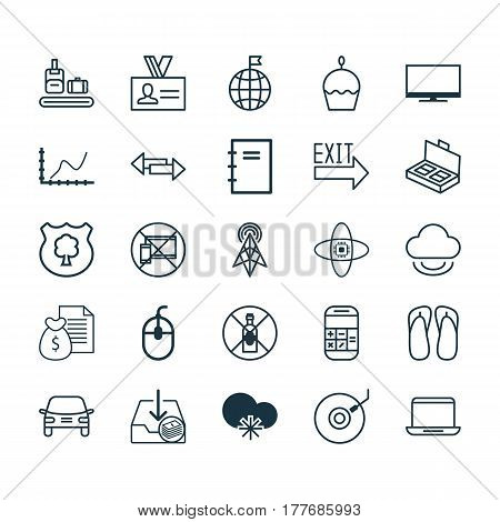 Set Of 25 Universal Editable Icons. Can Be Used For Web, Mobile And App Design. Includes Elements Such As Notebook, Spiral Notebook, Birthday Cake And More.