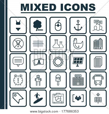 Set Of 25 Universal Editable Icons. Can Be Used For Web, Mobile And App Design. Includes Elements Such As Text Bubble, Alcohol Forbid, Questionnaire And More.