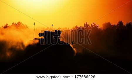ARMORED INFANTRY FIGHTING VEHICLE - military vehicle in the forest at sunset