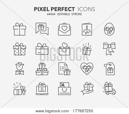 Set of gifts and presents thin line icons. Contains icons as gift card buy presents testimonials surprise gift and more. Editable vector stroke. 64x64 Pixel Perfect.