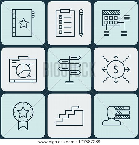 Set Of 9 Project Management Icons. Includes Money, Warranty, Opportunity And Other Symbols. Beautiful Design Elements.