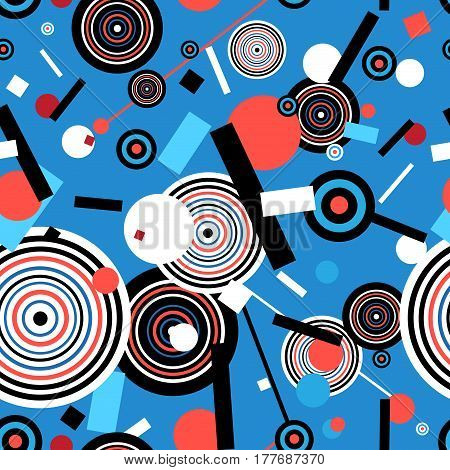 Seamless graphic pattern of geometric circular rectangles design elements