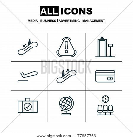 Set Of 9 Travel Icons. Includes Seats, Airliner Takeoff, Escalator Down And Other Symbols. Beautiful Design Elements.