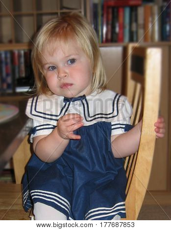 girl sailor cute blonde chair pout pouty