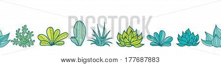 Vector Blue Green Seamless Horizontal Repeat Pattern Border With Growing Succulents and Cacti In Pots. Trendy tropical design for textile, fabric, packaging, backdrops, wallpaper. Surface pattern design.