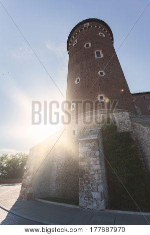 Beautiful Sandomierz Watchtower in Wawel Royal Castle in sun light. Krakow, Poland