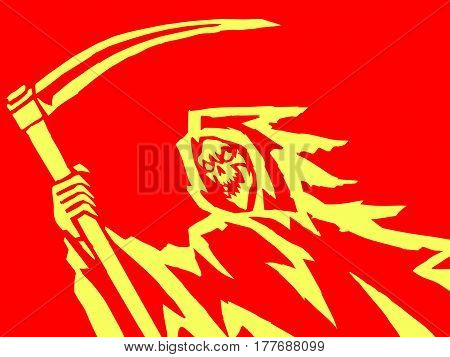 burning death with a scythe. evil character causing fear. red background. vector Illustration.