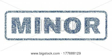 Minor text textile seal stamp watermark. Blue jeans fabric vectorized texture. Vector tag inside rounded rectangular banner. Rubber sticker with fiber textile structure.