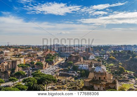 View of Roman forum and Colosseum from Monument to Victor Emmanuel II Rome