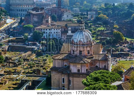 View of Roman forum from Monument to Victor Emmanuel II Rome