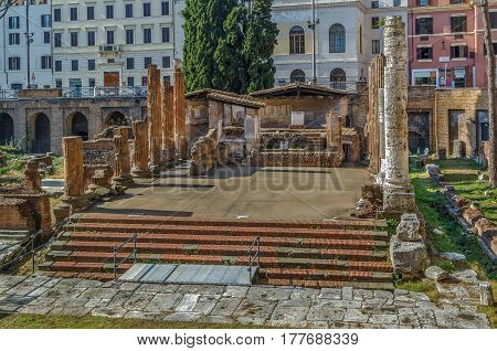 Largo di Torre Argentina is a square in Rome Italy that hosts four Republican Roman temples and the remains of Pompey's Theatre. It is located in the ancient Campus Martius