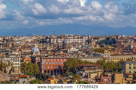 view of Rome from Janiculum Hill Italy