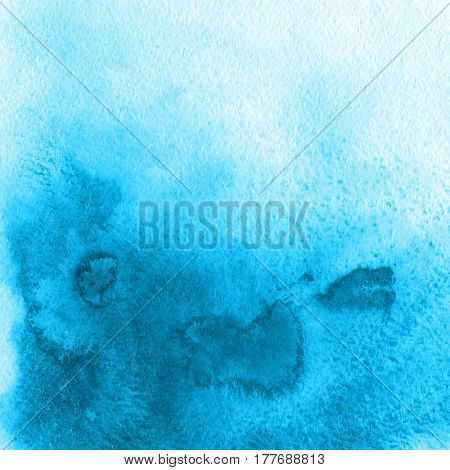 Abstract blue watercolor hand painted background. Watercolour gradient texture in trendy colors.