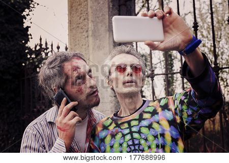 Scary Bloody Zombies Men Takes A Selfie In A Cemetery