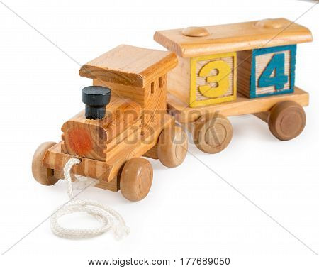 Colored Children's Wooden Toy Train With Digit Cubes, Isolated On A White Background