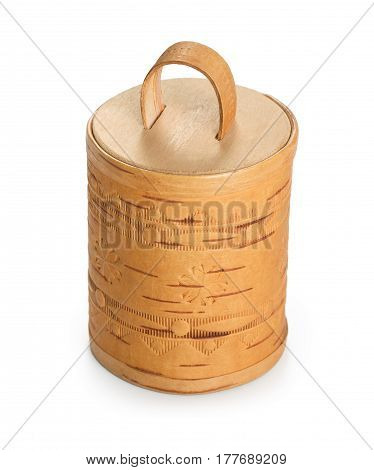 Decorative Handmade Barrel With Embossing Made Of Birch Bark. Decoration For House, Box For Small Th