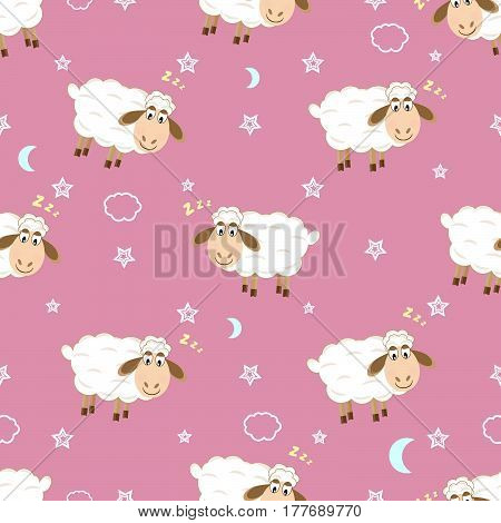 Baby seamless pattern cute sheep seamless pattern vector illustration
