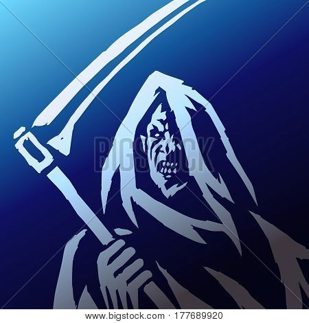 Reaper Phantom. Head in the Hood. Scary Horror Character Face. Graphic Design. Digital Freehand Drawing. Ghost Flat Demon. Blue Background. Web Icon. Isolated Vector Illustration.