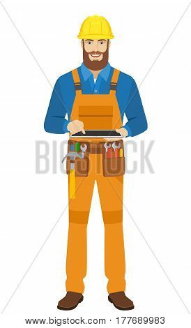 Worker uses digital tablet PC. Full length portrait of worker in a flat style. Vector illustration.