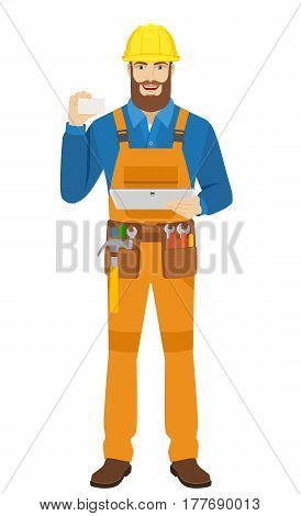 Worker holding digital tablet PC and showing the business card. Full length portrait of worker in a flat style. Vector illustration.