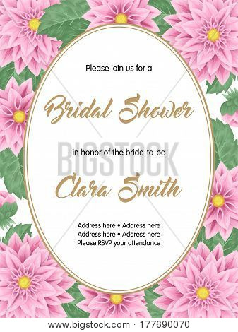 Bridal shower or wedding invitation with flowers. Vector Illustration