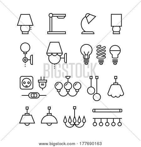 Lamp, bulbs, chandelier and electrical devices thin line vector icons set. Electric lamp and electrical element illustration