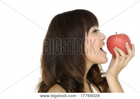 young woman holding apples on hands
