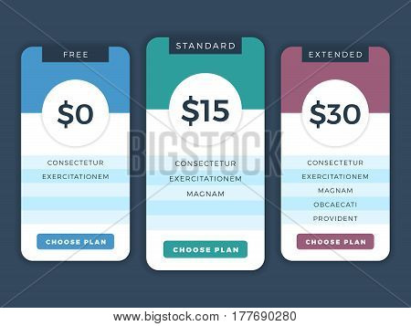 Contemporary pricing business plans, data table vector template for web and applications. Hosting for website tariff illustration