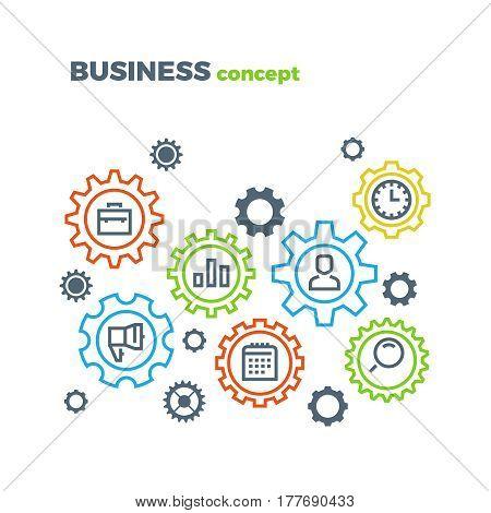 Business integration mechanism vector marketing concept. Business mechanism integrate illustration