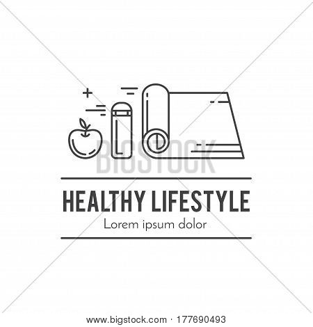 Design concept with thin line icons of healthy living lifestyle, food and fitness training elements. Outline logo template isolated on white background.