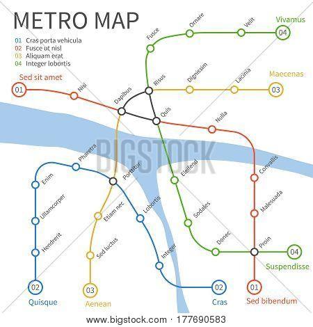 Metro subway train map. Vector urban transportation concept. Underground railway transportation and way under river illustration