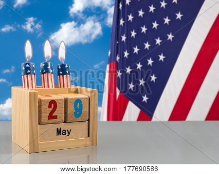 Wooden calendar as reminder that Memorial Day in the USA is 29 May 2017