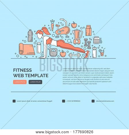 Web design template with line icons symbols of fitness studio, gym facility or health industry. Ideal layout for World Health Day, healthy lifestyle. Clean and minimalistic concept.