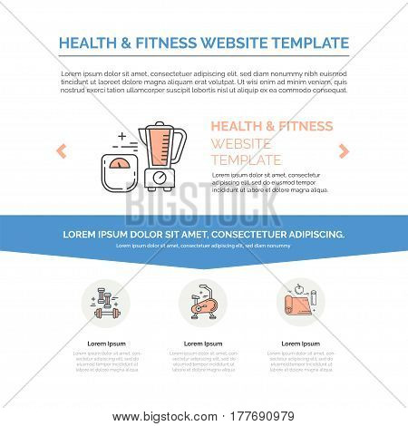 Landing page design template with line icons for fitness studio, gym facility or health industry. Ideal for business layout. Clean and minimalistic concept.