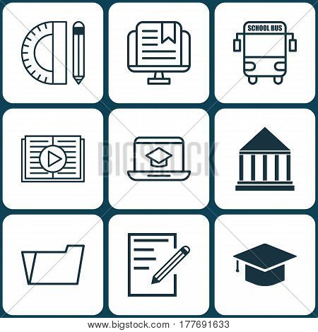 Set Of 9 Education Icons. Includes Transport Vehicle, Education Center, E-Study And Other Symbols. Beautiful Design Elements.