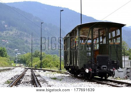 vintage passenger railway wagon on a mountain railway