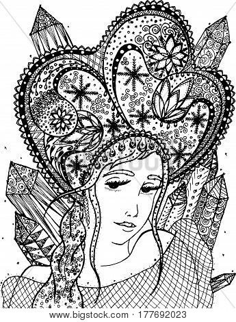 Vector illustration winter woman in zentangle and ethnic style. Doodle drawing. Lace pattern rodent girl, snow. Coloring book anti stress for adults and children. Black and white. Meditative exercise.
